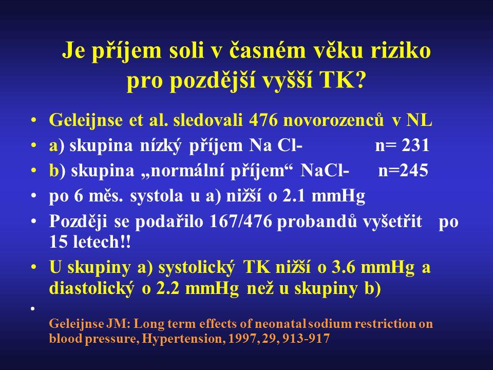 Je příjem soli v časném věku riziko pro pozdější vyšší TK.