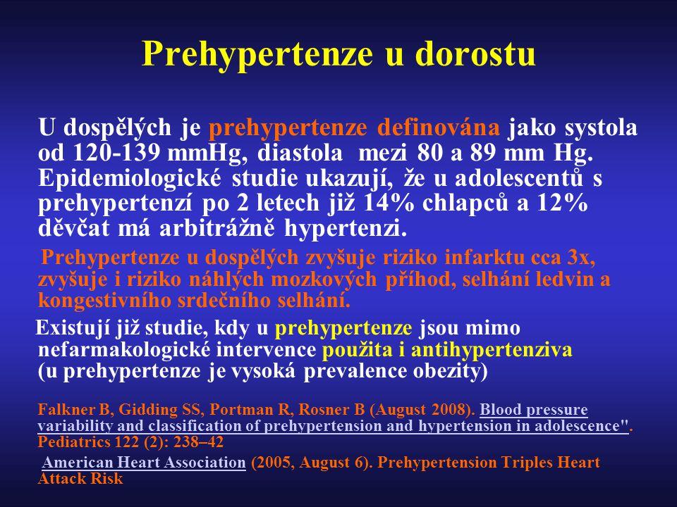 Prehypertenze u dorostu U dospělých je prehypertenze definována jako systola od 120-139 mmHg, diastola mezi 80 a 89 mm Hg.