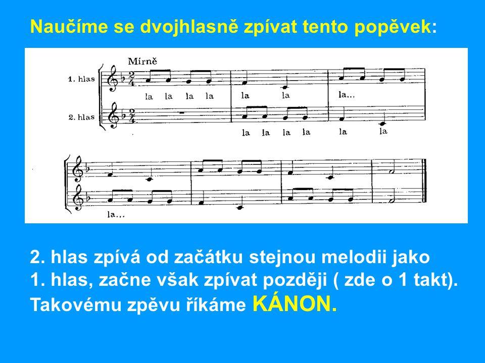Naučíme se dvojhlasně zpívat tento popěvek: 2.hlas zpívá od začátku stejnou melodii jako 1.