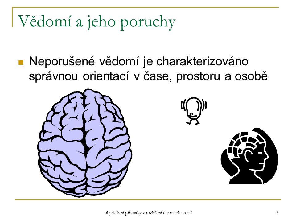 objektivní příznaky a rozlišení dle naléhavosti 2 Vědomí a jeho poruchy Neporušené vědomí je charakterizováno správnou orientací v čase, prostoru a osobě