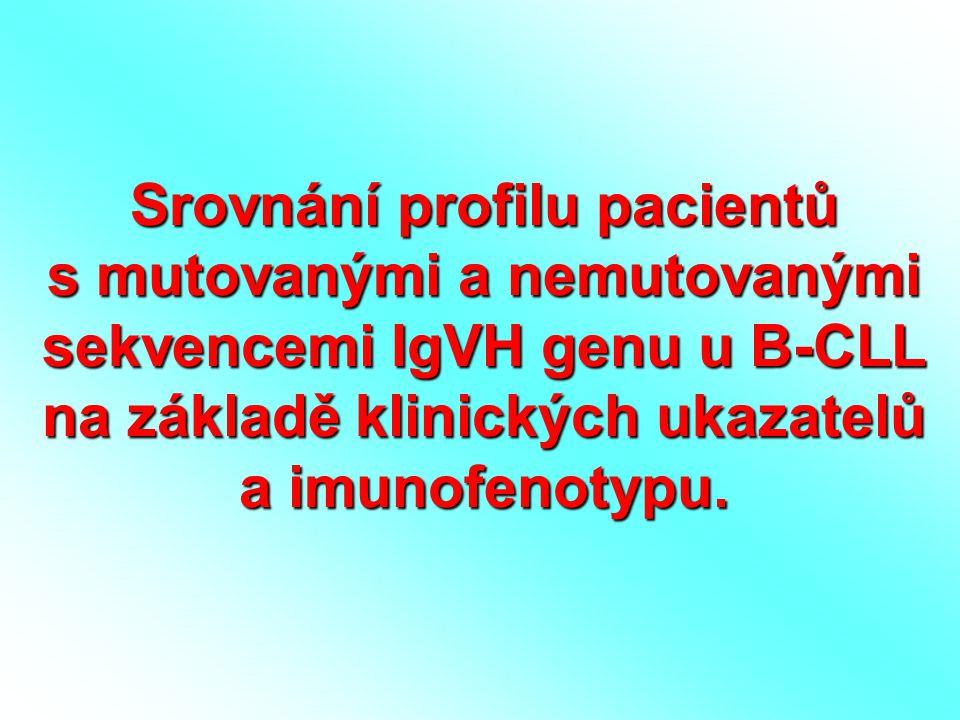 Srovnání profilu pacientů s mutovanými a nemutovanými sekvencemi IgVH genu u B-CLL na základě klinických ukazatelů a imunofenotypu.