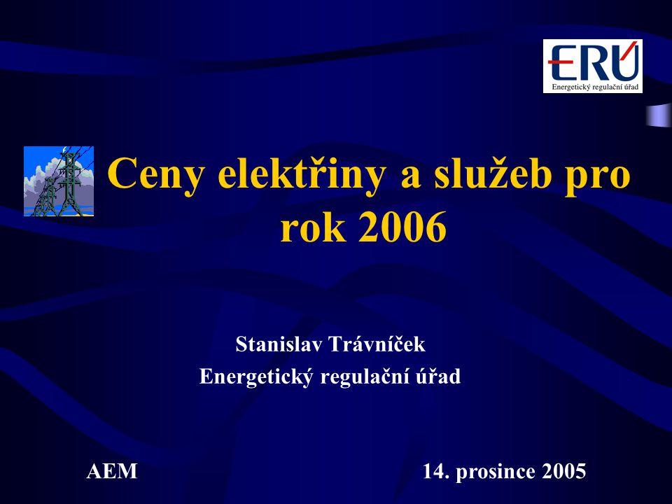Ceny elektřiny a služeb pro rok 2006 Stanislav Trávníček Energetický regulační úřad AEM14.