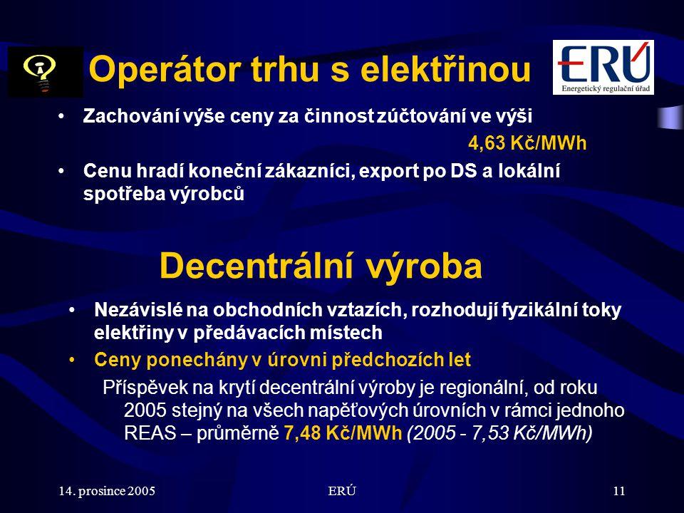 14. prosince 2005ERÚ11 Decentrální výroba Nezávislé na obchodních vztazích, rozhodují fyzikální toky elektřiny v předávacích místech Ceny ponechány v