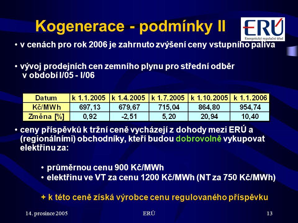 14. prosince 2005ERÚ13 Kogenerace - podmínky II v cenách pro rok 2006 je zahrnuto zvýšení ceny vstupního paliva vývoj prodejních cen zemního plynu pro