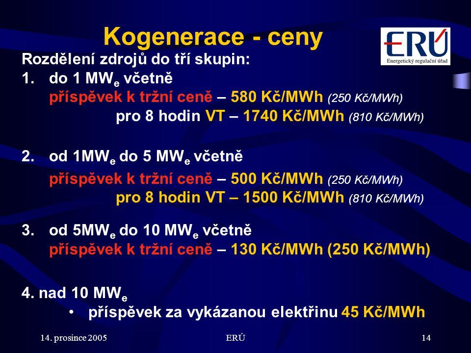 14. prosince 2005ERÚ14 Kogenerace - ceny Rozdělení zdrojů do tří skupin: 1.do 1 MW e včetně příspěvek k tržní ceně – 580 Kč/MWh (250 Kč/MWh) pro 8 hod
