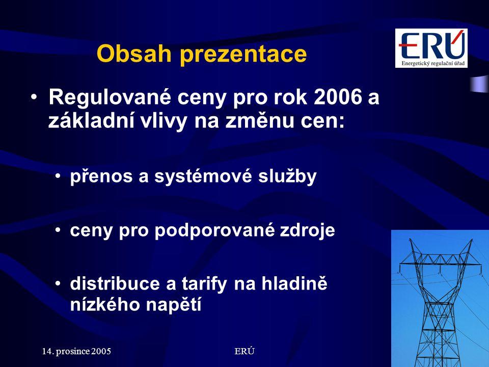 14. prosince 2005ERÚ2 Obsah prezentace Regulované ceny pro rok 2006 a základní vlivy na změnu cen: přenos a systémové služby ceny pro podporované zdro