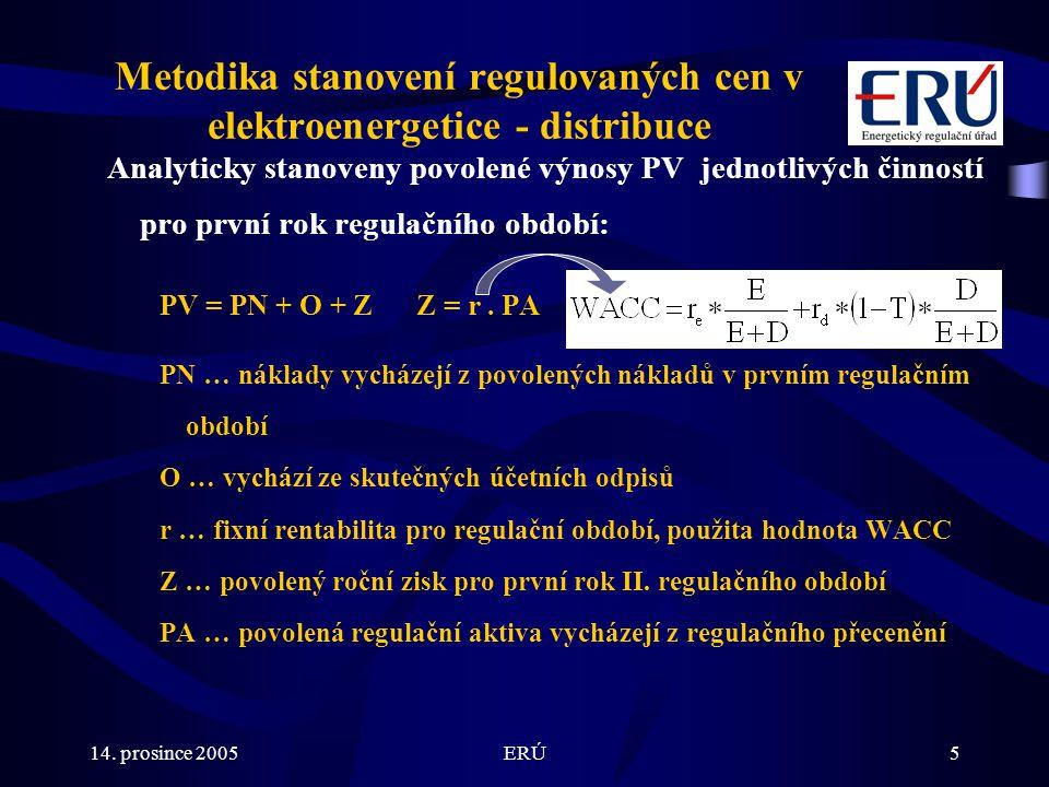 14. prosince 2005ERÚ5 Metodika stanovení regulovaných cen v elektroenergetice - distribuce Analyticky stanoveny povolené výnosy PV jednotlivých činnos