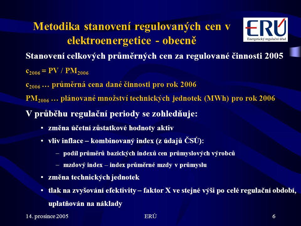 14. prosince 2005ERÚ6 Metodika stanovení regulovaných cen v elektroenergetice - obecně Stanovení celkových průměrných cen za regulované činnosti 2005