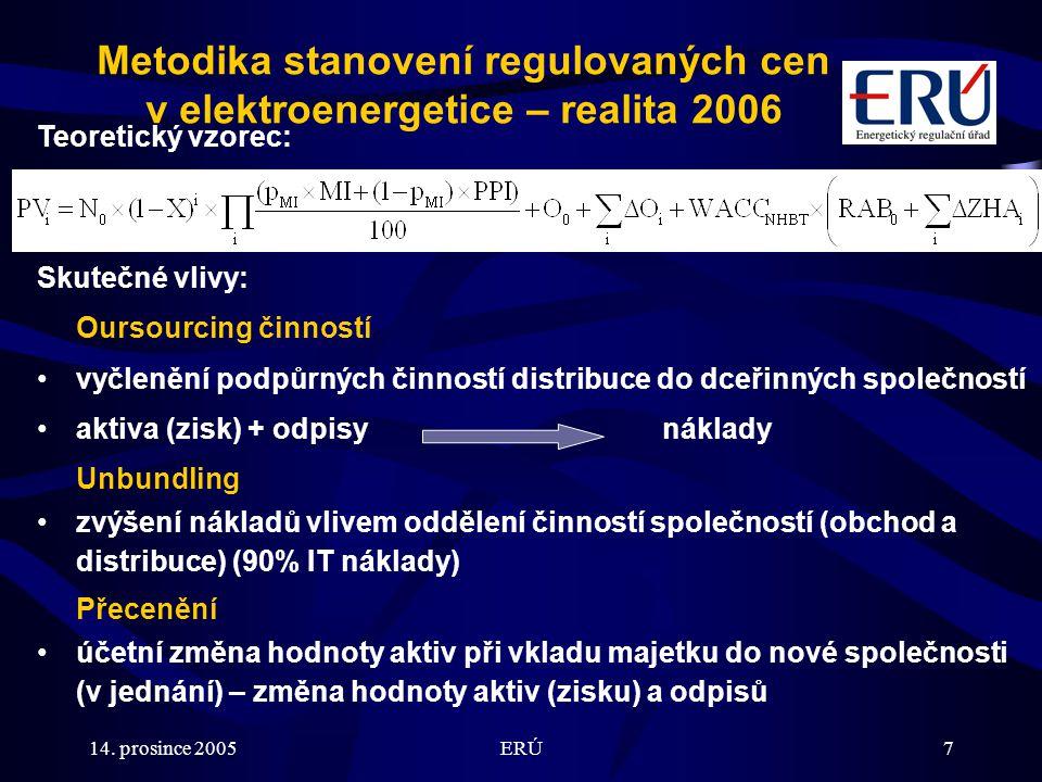 14. prosince 2005ERÚ7 Metodika stanovení regulovaných cen v elektroenergetice – realita 2006 Teoretický vzorec: Skutečné vlivy: Oursourcing činností v