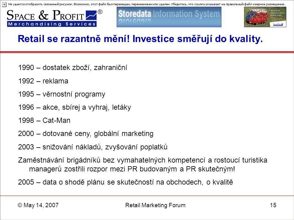 ® © May 14, 2007Retail Marketing Forum15 Retail se razantně mění! Investice směřují do kvality. 1990 – dostatek zboží, zahraniční 1992 – reklama 1995