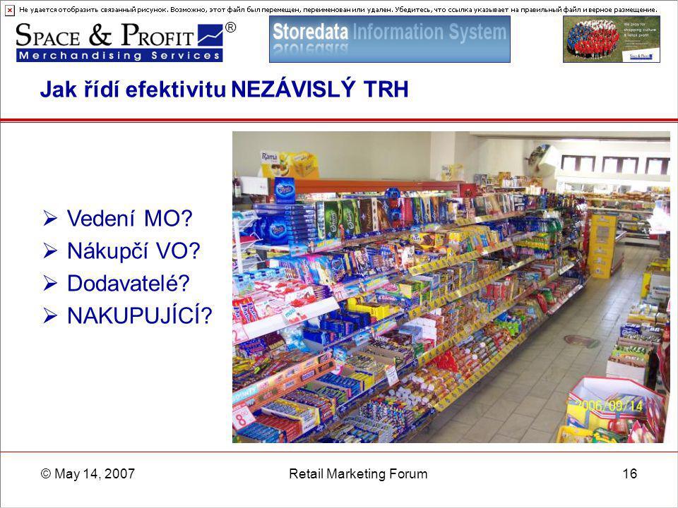 ® © May 14, 2007Retail Marketing Forum16 Jak řídí efektivitu NEZÁVISLÝ TRH  Vedení MO?  Nákupčí VO?  Dodavatelé?  NAKUPUJÍCÍ?