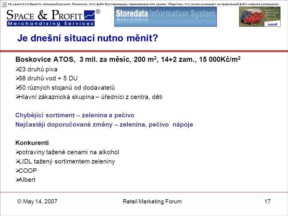 ® © May 14, 2007Retail Marketing Forum17 Je dnešní situaci nutno měnit? Boskovice ATOS, 3 mil. za měsíc, 200 m 2, 14+2 zam., 15 000Kč/m 2  23 druhů p