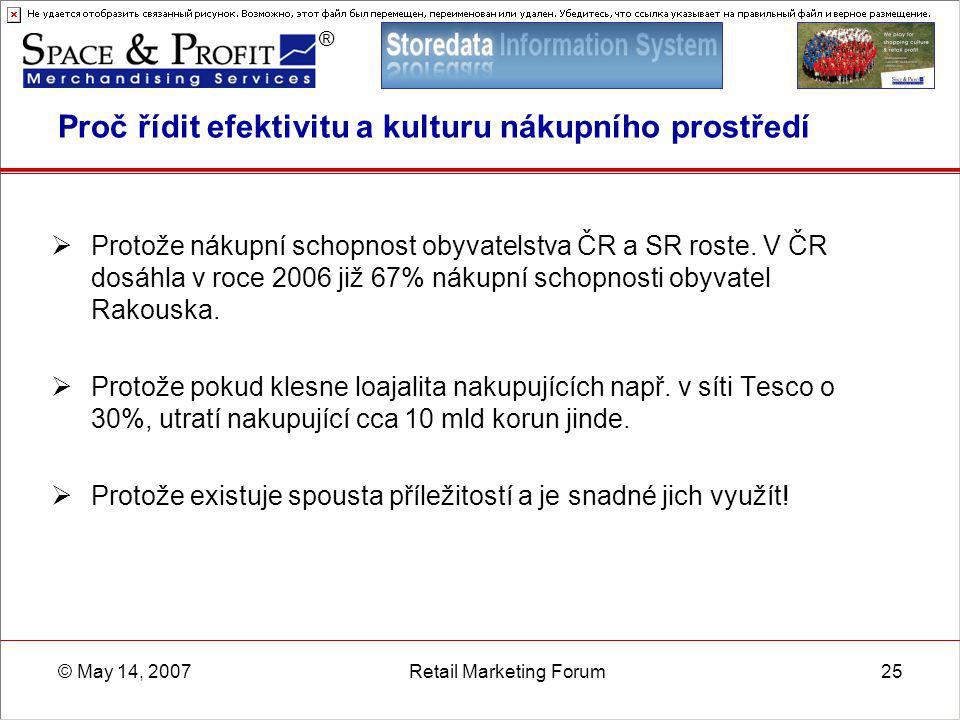 ® © May 14, 2007Retail Marketing Forum25 Proč řídit efektivitu a kulturu nákupního prostředí  Protože nákupní schopnost obyvatelstva ČR a SR roste. V