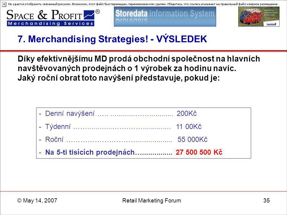 ® © May 14, 2007Retail Marketing Forum35 7. Merchandising Strategies! - VÝSLEDEK Díky efektivnějšímu MD prodá obchodní společnost na hlavních navštěvo