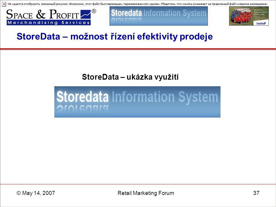 ® © May 14, 2007Retail Marketing Forum37 StoreData – možnost řízení efektivity prodeje StoreData – ukázka využití