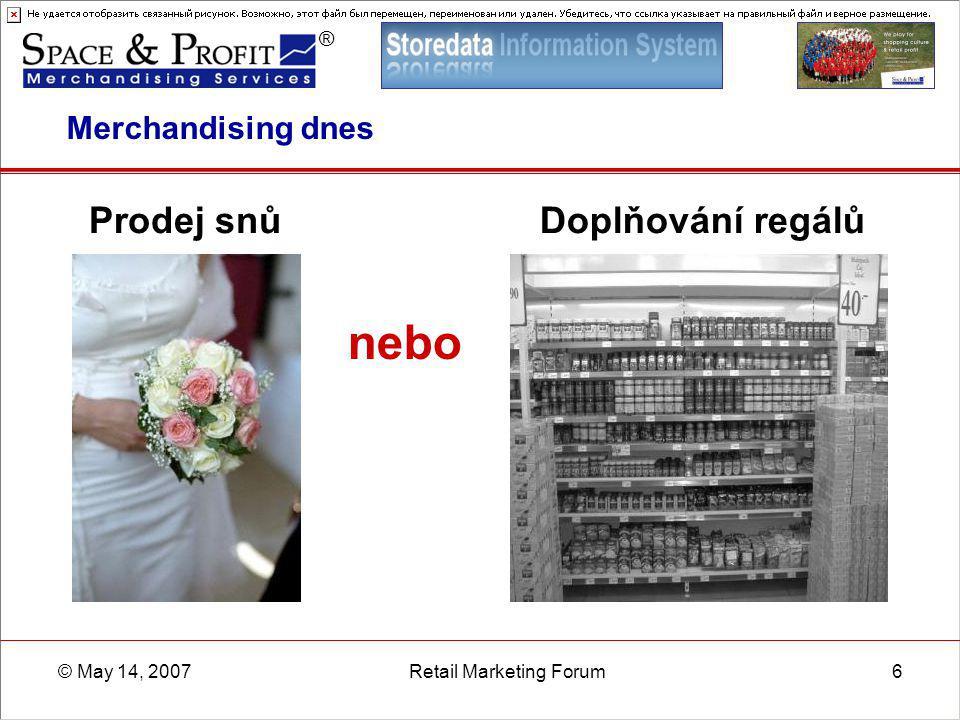 ® © May 14, 2007Retail Marketing Forum6 Merchandising dnes Prodej snů nebo Doplňování regálů