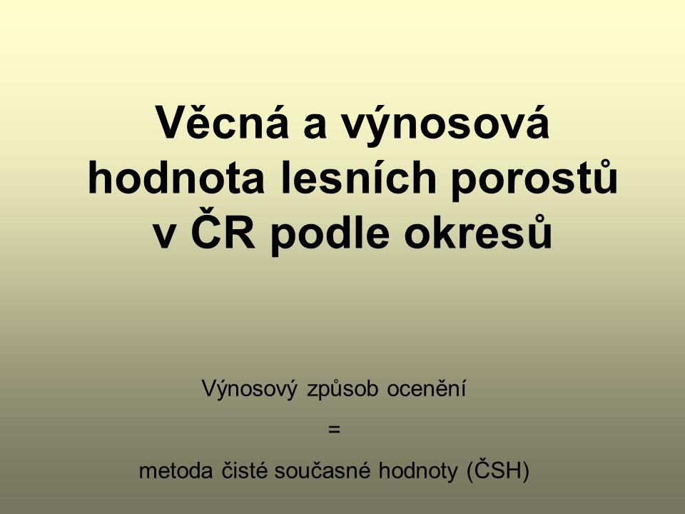 Věcná a výnosová hodnota lesních porostů v ČR podle okresů Výnosový způsob ocenění = metoda čisté současné hodnoty (ČSH)