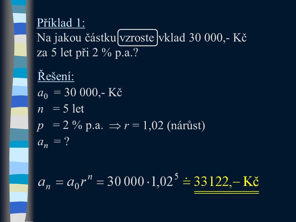 Příklad 1: Na jakou částku vzroste vklad 30 000,- Kč za 5 let při 2 % p.a.? Řešení: a 0 = 30 000,- Kč n = 5 let p = 2 % p.a. a n = ?  r r = 1,02 (ná
