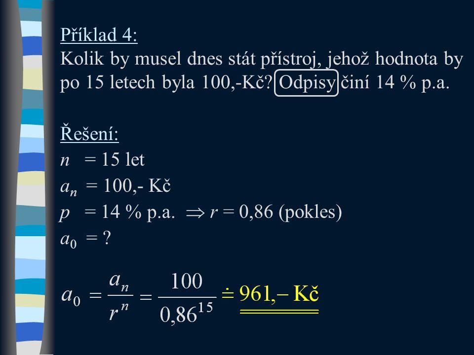Příklad 4: Kolik by musel dnes stát přístroj, jehož hodnota by po 15 letech byla 100,-Kč? Odpisy činí 14 % p.a. Řešení: n = 15 let a n = 100,- Kč p =