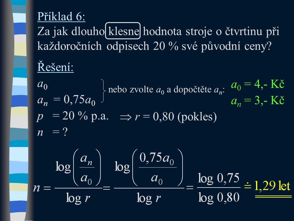 Příklad 6: Za jak dlouho klesne hodnota stroje o čtvrtinu při každoročních odpisech 20 % své původní ceny? Řešení: a0a0 a n = 0,75a 0 p = 20 % p.a. n