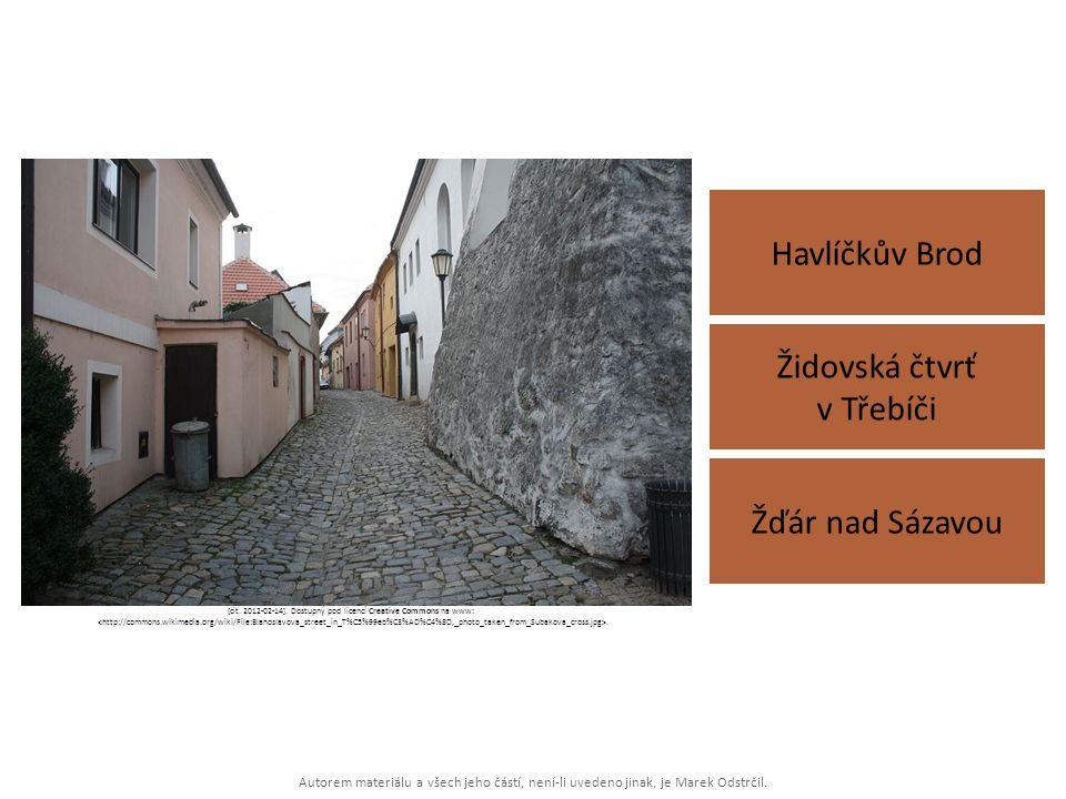 Autorem materiálu a všech jeho částí, není-li uvedeno jinak, je Marek Odstrčil. Havlíčkův Brod Žďár nad Sázavou Židovská čtvrť v Třebíči [cit. 2012-02