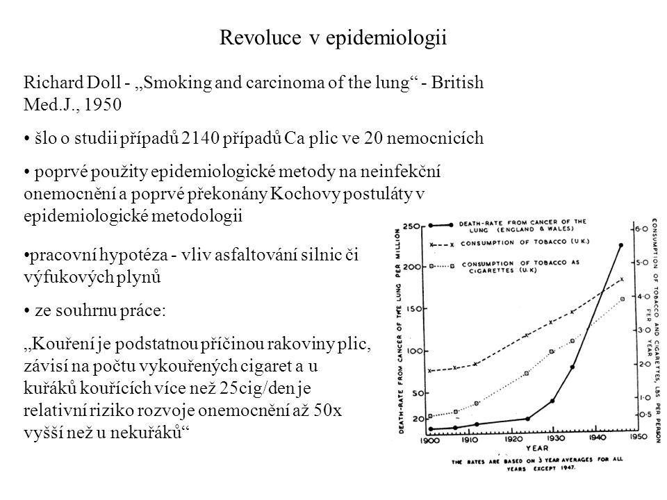 """Revoluce v epidemiologii Richard Doll - """"Smoking and carcinoma of the lung"""" - British Med.J., 1950 šlo o studii případů 2140 případů Ca plic ve 20 nem"""