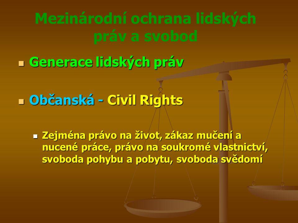 Mezinárodní ochrana lidských práv a svobod Generace lidských práv Generace lidských práv Občanská - Civil Rights Občanská - Civil Rights Zejména právo na život, zákaz mučení a nucené práce, právo na soukromé vlastnictví, svoboda pohybu a pobytu, svoboda svědomí Zejména právo na život, zákaz mučení a nucené práce, právo na soukromé vlastnictví, svoboda pohybu a pobytu, svoboda svědomí