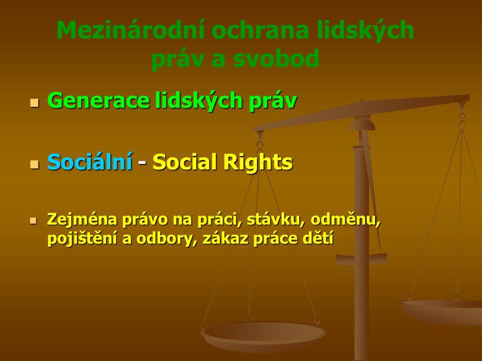 Mezinárodní ochrana lidských práv a svobod Generace lidských práv Generace lidských práv Sociální - Social Rights Sociální - Social Rights Zejména právo na práci, stávku, odměnu, pojištění a odbory, zákaz práce dětí Zejména právo na práci, stávku, odměnu, pojištění a odbory, zákaz práce dětí