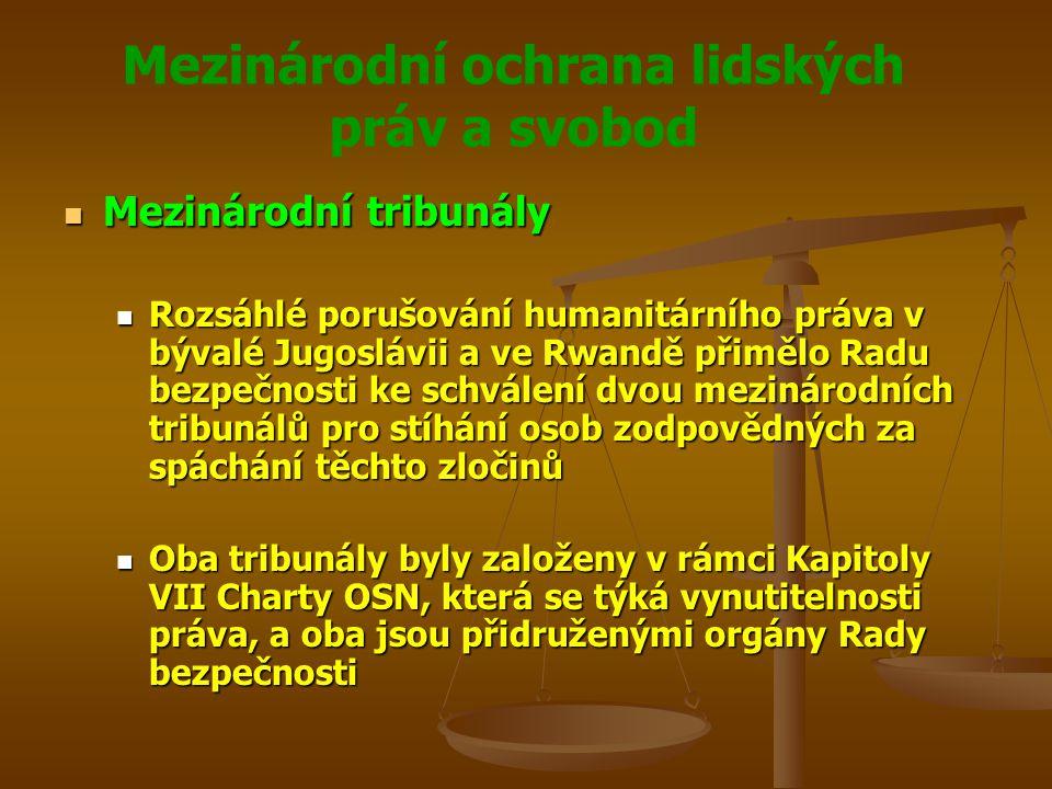 Mezinárodní ochrana lidských práv a svobod Mezinárodní tribunály Mezinárodní tribunály Rozsáhlé porušování humanitárního práva v bývalé Jugoslávii a ve Rwandě přimělo Radu bezpečnosti ke schválení dvou mezinárodních tribunálů pro stíhání osob zodpovědných za spáchání těchto zločinů Rozsáhlé porušování humanitárního práva v bývalé Jugoslávii a ve Rwandě přimělo Radu bezpečnosti ke schválení dvou mezinárodních tribunálů pro stíhání osob zodpovědných za spáchání těchto zločinů Oba tribunály byly založeny v rámci Kapitoly VII Charty OSN, která se týká vynutitelnosti práva, a oba jsou přidruženými orgány Rady bezpečnosti Oba tribunály byly založeny v rámci Kapitoly VII Charty OSN, která se týká vynutitelnosti práva, a oba jsou přidruženými orgány Rady bezpečnosti