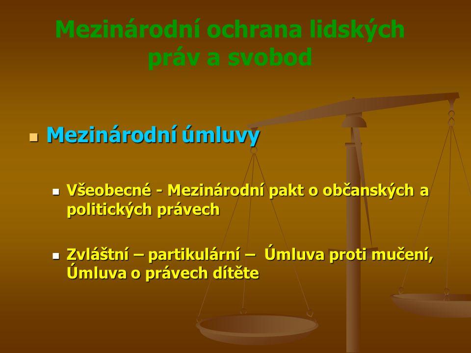 Mezinárodní ochrana lidských práv a svobod Mezinárodní organizace Mezinárodní organizace Nejvýznamější mezinárodní organizací na ochranu lidských práv je OSN a její Mezinárodní organizace práce Nejvýznamější mezinárodní organizací na ochranu lidských práv je OSN a její Mezinárodní organizace práce