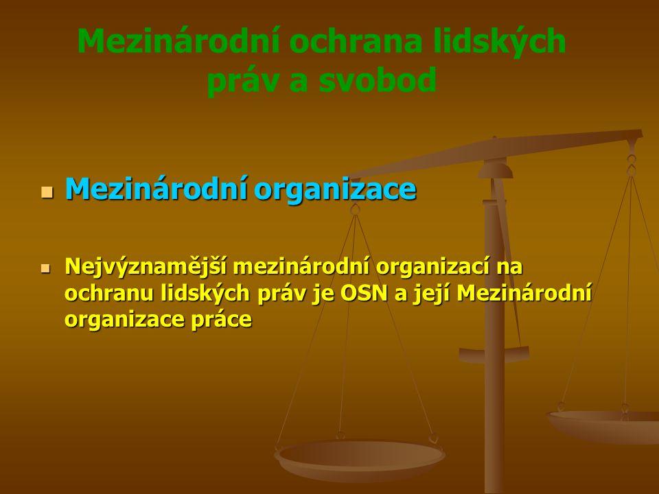 Mezinárodní ochrana lidských práv a svobod Generace lidských práv Generace lidských práv Ekologická Ekologická Právo na zdravé životní prostředí Právo na zdravé životní prostředí