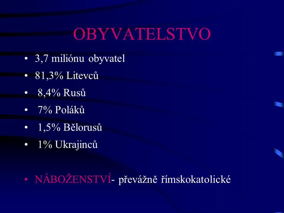 OBYVATELSTVO 3,7 miliónu obyvatel 81,3% Litevců 8,4% Rusů 7% Poláků 1,5% Bělorusů 1% Ukrajinců NÁBOŽENSTVÍ- převážně římskokatolické