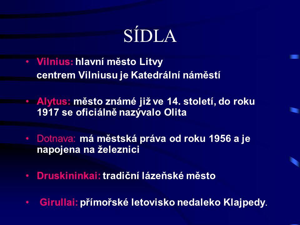 SÍDLA Vilnius : hlavní město Litvy centrem Vilniusu je Katedrální náměstí Alytus: město známé již ve 14. století, do roku 1917 se oficiálně nazývalo O