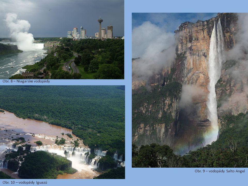 Obr. 8 – Niagarské vodopády Obr. 9 – vodopády Salto Angel Obr. 10 – vodopády Iguazú