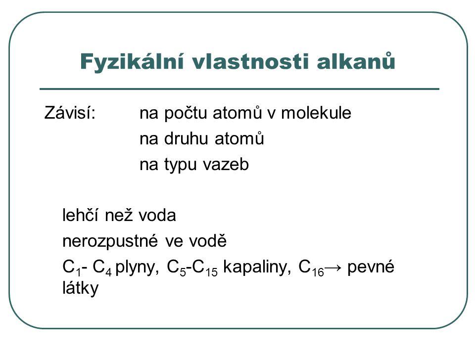 Fyzikální vlastnosti alkanů Závisí:na počtu atomů v molekule na druhu atomů na typu vazeb lehčí než voda nerozpustné ve vodě C 1 - C 4 plyny, C 5 -C 1