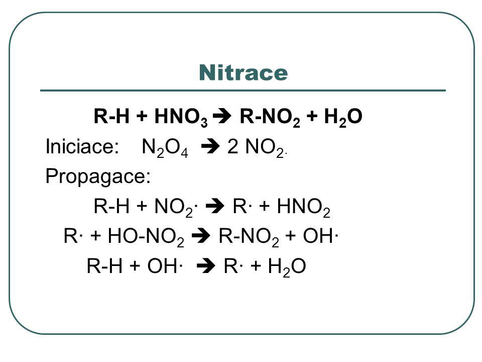 Nitrace R-H + HNO 3  R-NO 2 + H 2 O Iniciace:N 2 O 4  2 NO 2· Propagace: R-H + NO 2 ·  R· + HNO 2 R· + HO-NO 2  R-NO 2 + OH· R-H + OH·  R· + H 2