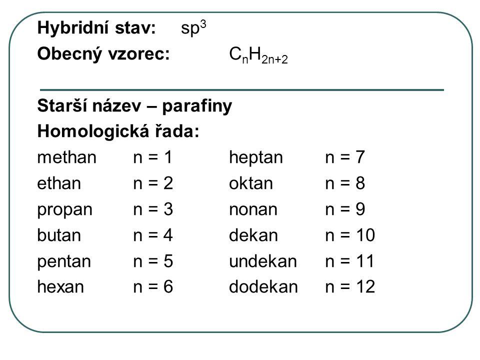 Hybridní stav:sp 3 Obecný vzorec:C n H 2n+2 Starší název – parafiny Homologická řada: methann = 1heptann = 7 ethann = 2oktann = 8 propann = 3nonann =
