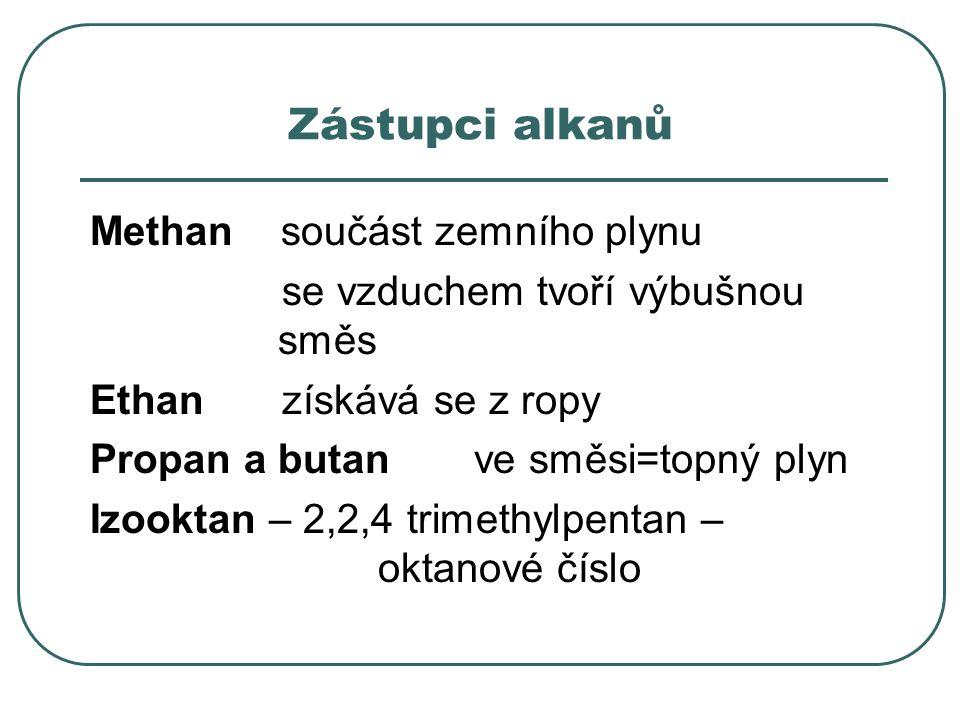 Zástupci alkanů Methan součást zemního plynu se vzduchem tvoří výbušnou směs Ethan získává se z ropy Propan a butan ve směsi=topný plyn Izooktan – 2,2