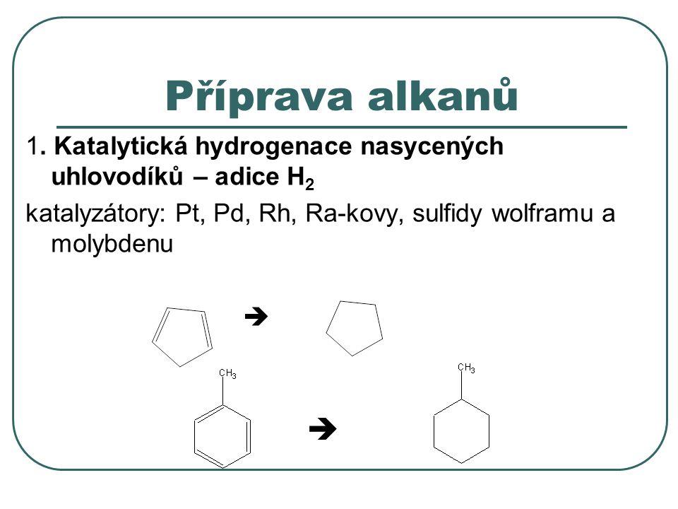 Příprava alkanů 1. Katalytická hydrogenace nasycených uhlovodíků – adice H 2 katalyzátory: Pt, Pd, Rh, Ra-kovy, sulfidy wolframu a molybdenu  