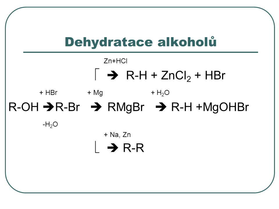 Dehydratace alkoholů Zn+HCl   R-H + ZnCl 2 + HBr + HBr + Mg + H 2 O R-OH  R-Br  RMgBr  R-H +MgOHBr -H 2 O + Na, Zn   R-R