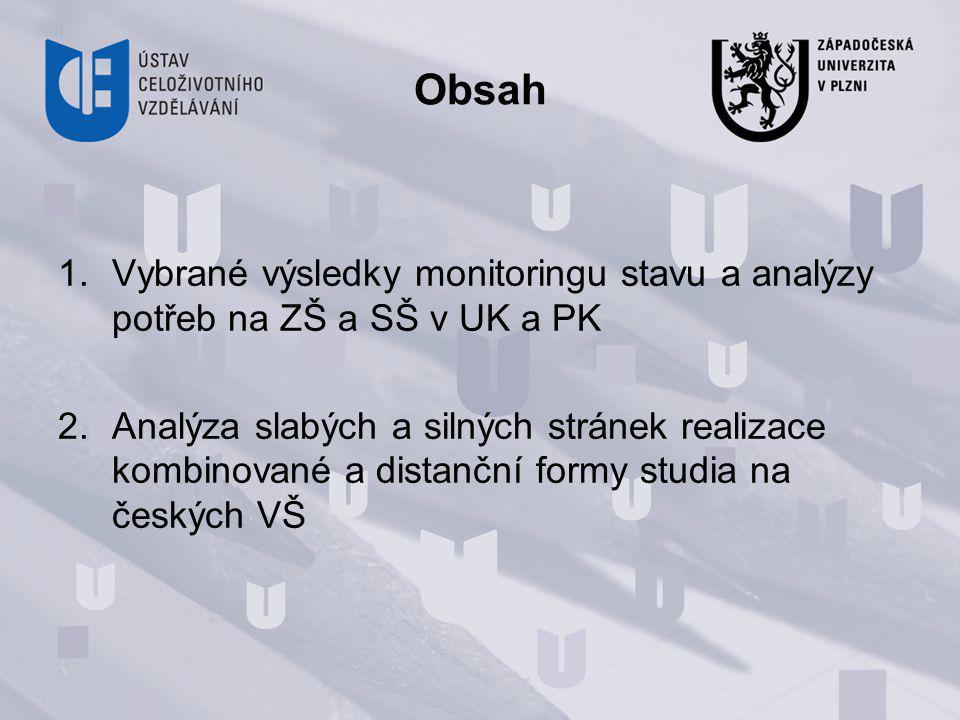Obsah 1.Vybrané výsledky monitoringu stavu a analýzy potřeb na ZŠ a SŠ v UK a PK 2.Analýza slabých a silných stránek realizace kombinované a distanční formy studia na českých VŠ