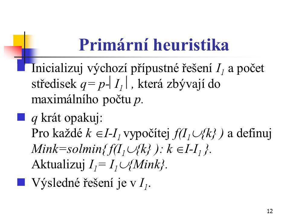 12 Primární heuristika Inicializuj výchozí přípustné řešení I 1 a počet středisek q= p-  I 1 , která zbývají do maximálního počtu p. q krát opakuj: