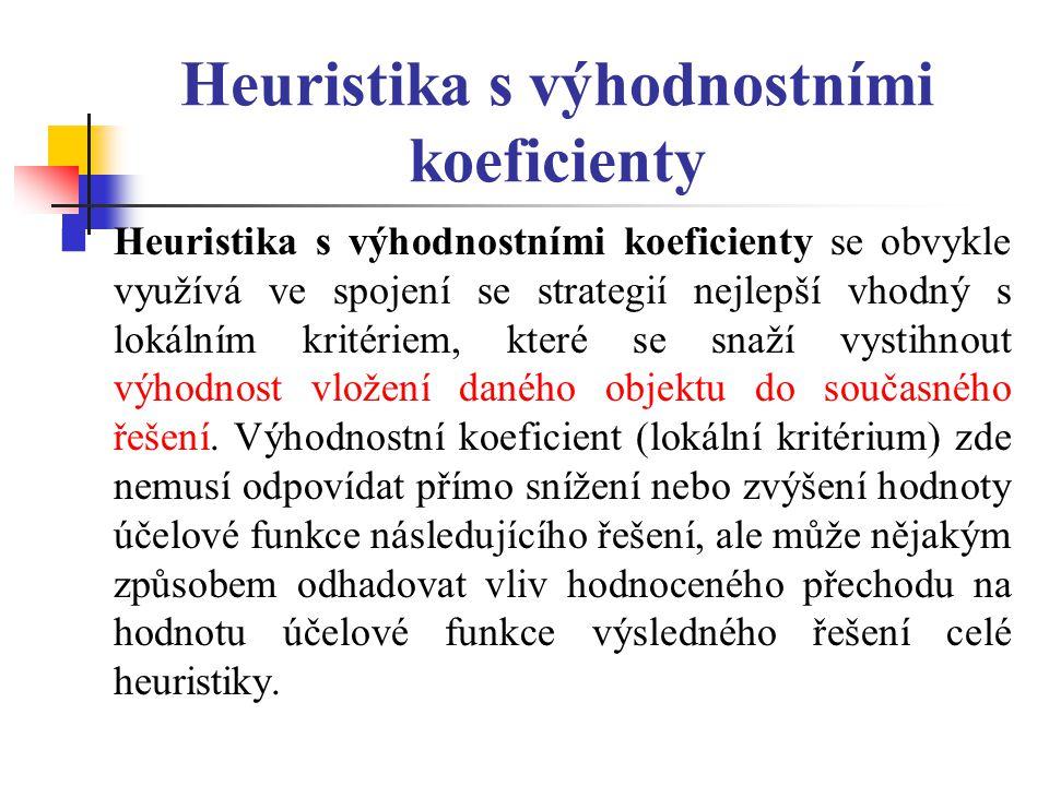 Heuristika s výhodnostními koeficienty Heuristika s výhodnostními koeficienty se obvykle využívá ve spojení se strategií nejlepší vhodný s lokálním kr