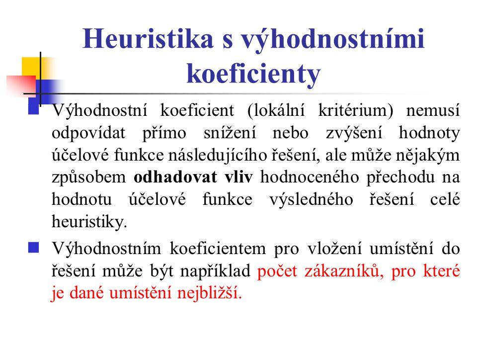 Heuristika s výhodnostními koeficienty Výhodnostní koeficient (lokální kritérium) nemusí odpovídat přímo snížení nebo zvýšení hodnoty účelové funkce n