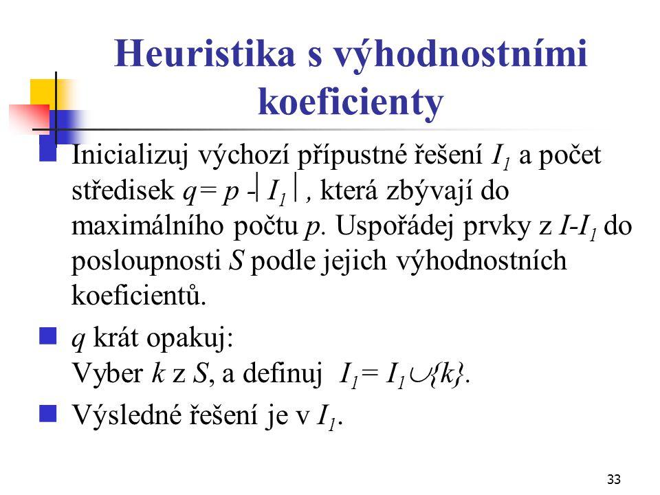 33 Heuristika s výhodnostními koeficienty Inicializuj výchozí přípustné řešení I 1 a počet středisek q= p -  I 1 , která zbývají do maximálního počt