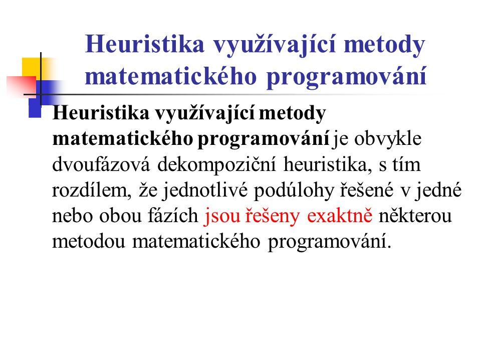 Heuristika využívající metody matematického programování Heuristika využívající metody matematického programování je obvykle dvoufázová dekompoziční heuristika, s tím rozdílem, že jednotlivé podúlohy řešené v jedné nebo obou fázích jsou řešeny exaktně některou metodou matematického programování.
