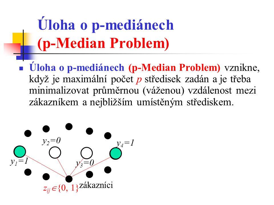 Úloha o p-mediánech (p-Median Problem) Úloha o p-mediánech (p-Median Problem) vznikne, když je maximální počet p středisek zadán a je třeba minimalizo