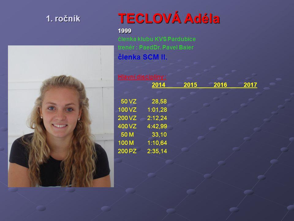 1. ročník TECLOVÁ Adéla 1999 členka klubu KVS Pardubice trenér : PaedDr.