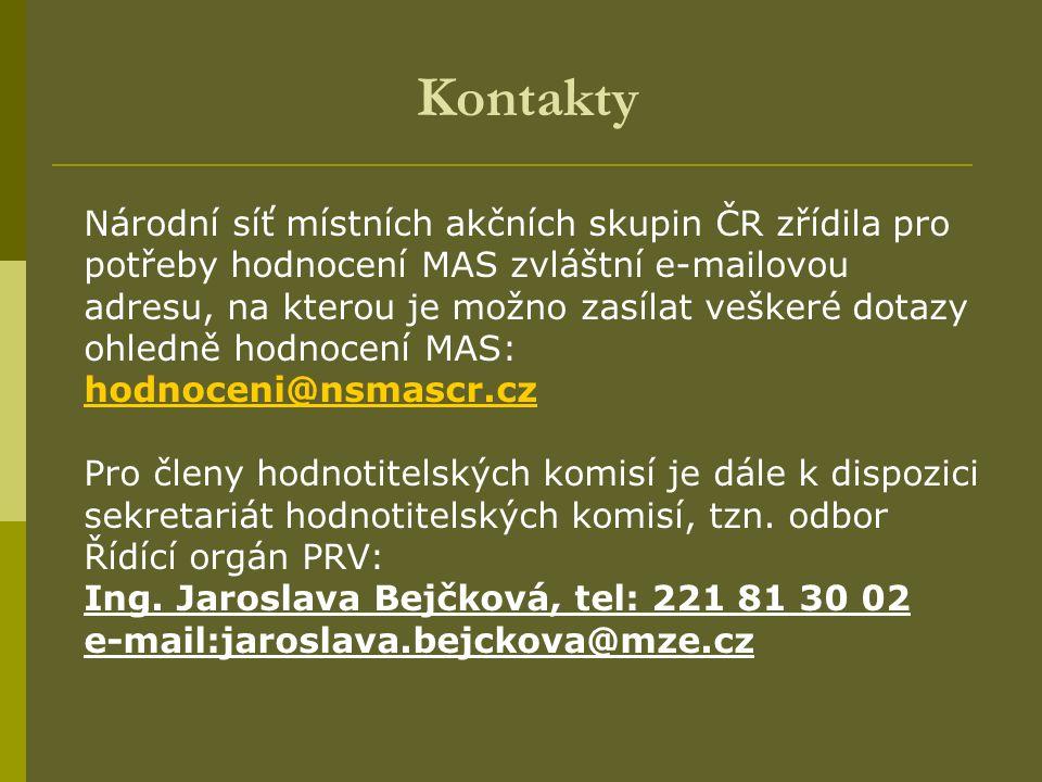Kontakty Národní síť místních akčních skupin ČR zřídila pro potřeby hodnocení MAS zvláštní e-mailovou adresu, na kterou je možno zasílat veškeré dotaz