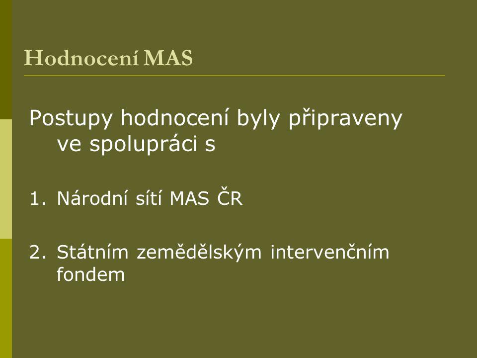 Hodnocení MAS Postupy hodnocení byly připraveny ve spolupráci s 1.Národní sítí MAS ČR 2.Státním zemědělským intervenčním fondem